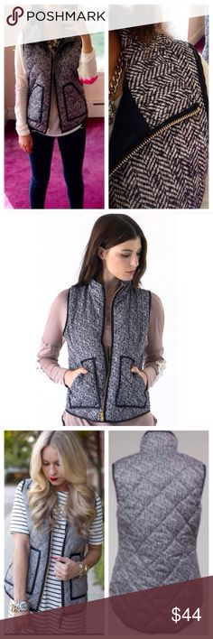 ❣NEW IN❣ Lightweight Herringbone Summer Vest My best selling fall vest every year! Brand new. Quilted. Lightweight. Perfect for cool summer night or early fall. Runs small, juniors size. Small fits 0-2. Med 4-6, Large 8-10. Tops Blouses