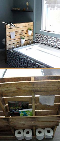 Bathroom shelf from repurposed pallet. Pallets can be used in your bathroom's decor in places such as walls, vanity, towels storage, stand shelf and cabinets.