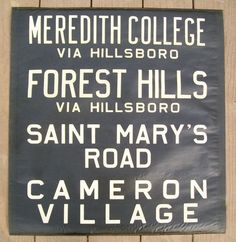 1940s CP Raleigh North Carolina Vellum Sign - So cool!