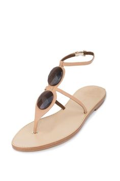 6a9235a8684040 Giorgio Armani Brown Leather Flat Sandals - Couture Only - 1 Flat Sandals