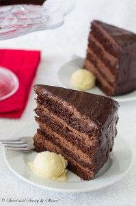 For serious chocolate lovers! This decadent chocolate cake with chocolate mousse filling is THE thing to satisfy your chocolate craving!