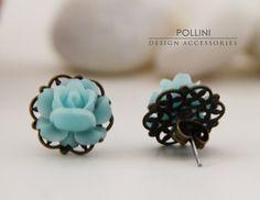 flower on top of flat design earring