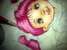 pintando cabelinhos cor de rosa - pintura em tecido