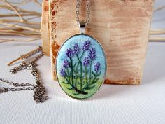 Lavvender necklace Oval pendant Embroidered by EmbroideredJewerly
