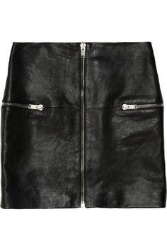 SAINT LAURENT Mini-jupe en cuir à finitions zippées