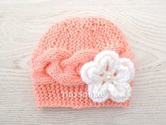 Cable Knit Baby Beanie, Newborn Baby Girl Hat in Peach, Cute Baby Hat, Size: 0 - 3 Mo, MADE to ORDER