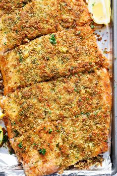 Crispy Garlic Parmesan Salmon is ready on your table in less than 15 minutes, with a 5-ingredient crispy crumb top! Restaurant quality baked salmon at home!
