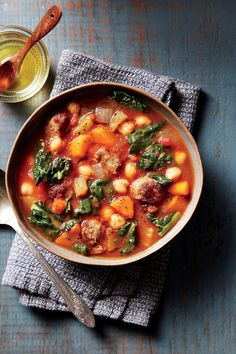 Spicy Sausage-and-Chickpea Soup with Garlic Oil - Our Best October 2016 Recipes - Southernliving. Recipe: Spicy Sausage-and-Chickpea Soup with Garlic Oil Spicy Italian pork sausage gives this soup a kick, but you can also substitute sweet Italian sausage.