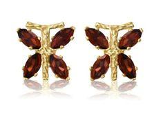 CLEARANCE! 3/4 Carat Garnet Dragonfly Earrings in 10K Gold