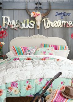 Find cute and cool girls bedroom ideas at Pottery Barn Teen. Shop your dream room with our teen room inspiration and ideas. Girls Bedroom, Bedroom Decor, Bedroom Ideas, Country Girl Bedroom, Cowgirl Bedroom, Country Bedding, Baby Bedroom, Master Bedroom, Girls Duvet Covers