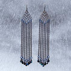 Iron Rain Earrings - black earrings - black chain earrings - black shoulder duster earrings - earrings with black niobium earwires
