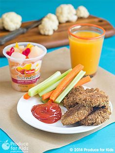 Healthier than the usual chicken nuggets, these have a chicken and cauliflower filling and a bran flake crumb coating. Serve them straight from the oven or freeze them to pop a few into lunchboxes still frozen or bake until heated for a quick weeknight entree. Freeze in a single layer before transferring to a freezer bag to store in freezer for up to 3 months. Recipe created by Christine Pittman in partnership with Produce for Kids.