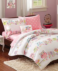Owls and soft pastels combine to make the Kids Wise Wendy reversible bedding collection from Mi Zone the smart choice for the bird lover in your home. Kids Bedroom, Bedroom Decor, Bedroom Ideas, Full Comforter Sets, Beige Bed Linen, Bed Linen Design, Bed In A Bag, Luxury Bedding Sets, Linen Bedding