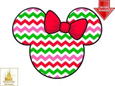 Chevron Minnie Mouse Christmas Ears I'm Going to Disney World Family Vacation T Shirt Iron On Transfer DIY Custom Printable Personalized