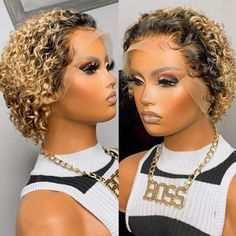 Short Cut Wigs, Pixie Cut Wig, Blonde Pixie Cuts, Blonde Lace Front Wigs, Bob Lace Front Wigs, Styles Courts, Remy Wigs, Curly Hair Styles, Natural Hair Styles