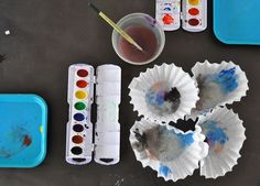 Coffee Filters and Watercolor Paint in Open Book, Open Play   Making Art with Children   The Eric Carle Museum of Picture Book Art #artexplorations #processart