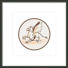 Angry Griiffin Side Circle Cartoon Framed Print By Aloysius Patrimonio