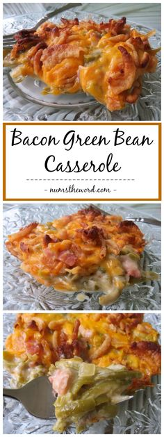 Bacon Green Bean Casserole is AWESOME! Give this one a try! From scratch and oh so good. It's a mushroom-less green bean casserole (or not) you'll love! #greenbeancasserole #greenbeans #bacon #sidedish #thanksgiving #christmas #easter #cheesy #numstheword #recipe