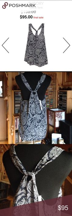 Theory Paisley printed silk scoopneck Racerback Paisley Printed Light Navy/Ivory silk scoop neck tank with gathered racerback. Brand new with Tag originally $190.00 Theory Tops Tank Tops