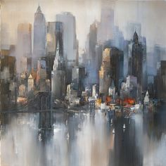 // Painting by Wilfred Lang So pretty Abstract City, Traditional Art, Impressionism, Unique Art, Painting Inspiration, Painting & Drawing, Amazing Art, Watercolor Art, Modern Art
