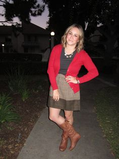 Teacher Attire // cardigan, j. crew plaid skirt, steve madden boots