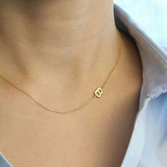 14K Real Gold Sideways Initial Necklace Personalized Necklace