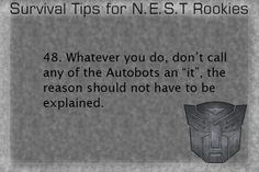 Survival Tips for NEST Rookies #48 (Series by the-autobot-headquarters on…