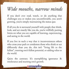Excerpt from: Wide mouths, narrow minds #Zerosophy