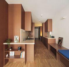 Built In Sofa, Built In Furniture, Furniture Design, Built Ins, Sliding Panels, Panel Doors, Oak Parquet Flooring, Barcelona Apartment, Attic Apartment