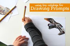 Cut up catalogs and draw! Great use for all those toy catalogs that arrive this time of year.