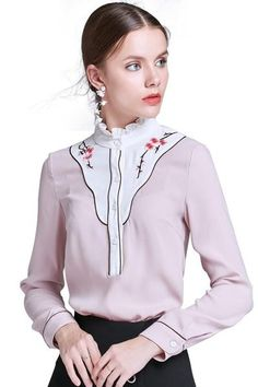 Floral Embroidery Ruffle Collar Shirt