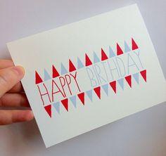 Happy birthday card, birthday card, original hand drawn illustration