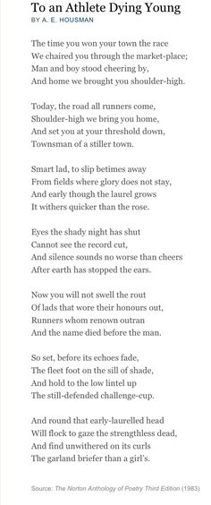 To an Athlete Dying Young Poetry Analysis
