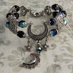 Moon Magick - Silver and Iridescent Black Crescent Moon Bracelet.
