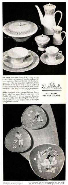 """Original-Werbung/Anzeige 1954 - ROSENTHAL PORZELLAN / FORM """" 2000 WEISS """" - ca. 65 x 220 mm"""