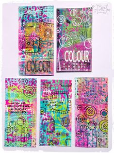 Cardboard decorated with gelli plate, dylusion paint, paperartsy stamps, wow embossing powder   A Lazy Scrapper