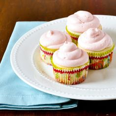 Good Thymes and Good Food: Lemon Cupcakes with Strawberry Cream Cheese Frosting