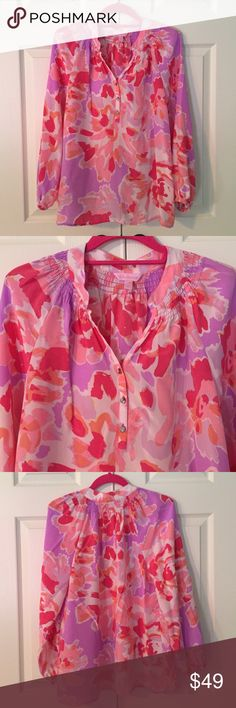 """Lilly Pulitzer Else Silk Top gorgeous floral print """"Else"""" top from Lilly Pulitzer. excellent condition with no flaws or stains. 100% silk. size small. Lilly Pulitzer Tops Blouses"""