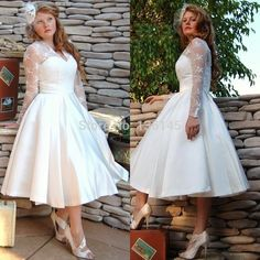 2014 New Fashion Plus Size Wedding Dress Tea Length with Long Sleeves V neck Lace Satin Bridal Gown Custom Made L956(China (Mainland))