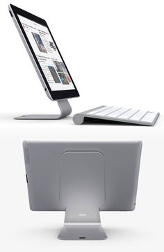 Dekke Slope Tablet Stand - The Slope by Dekke is an aftermarket item that works for all tablets. It's made of aluminum and features a unique Nanofoam suction pad (with thousands of microscopic air pockets) that holds your tablet securely in place at an ideal reading angle. | werd.com