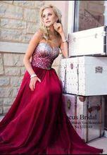 haute qualité sexy longue amie luxious perlage mousseline meilleure vente robe de bal rouge de charme(China (Mainland))