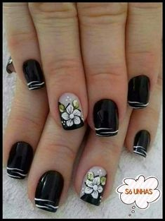 Square Nail Designs, Diy Nail Designs, Vacation Nails, Gelish Nails, Silver Nails, Pretty Nail Art, Beautiful Nail Designs, Flower Nails, Manicure And Pedicure