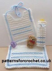 Free crochet pattern Bib, Bottle Cover & Burp Cloth from http://www.patternsforcrochet.co.uk/bib-bottle-cover-burp-cloth.html (UK - Aus etc).