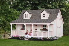 Backyard storage sheds have found a new purpose in the modern landscape. As people find out they need to do more with the room that they have, we are slowly finding newer and more unique ways of repurposing backyard storage… Pallet Playhouse, Build A Playhouse, Pallet Patio, Playhouse Ideas, Indoor Playhouse, Diy Pallet, Prefab Sheds, Barns Sheds, Backyard Storage Sheds