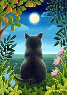 Cat on the beach painting. Cat Overlooking the Water - Brownd Elizabeth