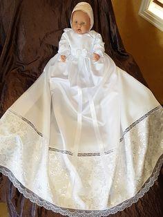dåpskjole nr 200 satin christening down nr 200 Girls Dresses, Flower Girl Dresses, Christening Gowns, Satin, Wedding Dresses, Design, Fashion, Layette, Baskets