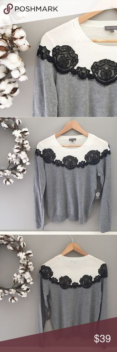 """🆕 NWT Vince Camuto Lace Top NEW WITH TAGS-- gorgeous, soft Vince Camuto knit top. Black lace overlays """"steel heather"""" and ivory colorblock top. Full length sleeves, poly / acrylic / nylon blend so it feels featherlight. Size M 23.5"""" length, 18"""" bust. Size S 23.5"""" length, 17"""" bust. All measurements lying flat and un-stretched. Vince Camuto Tops"""