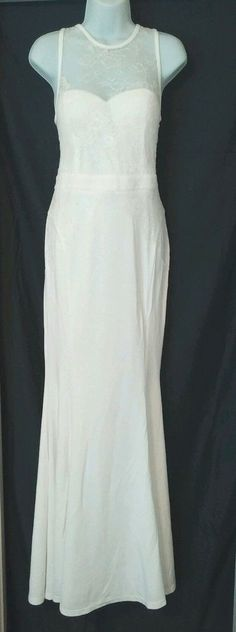 WHITE IVORY SLEEVELESS LACE BODICE MERMAID LONG FORMAL PROM WEDDING GOWN DRESS L #Xtaren #BallGown #Formal