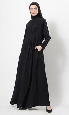 Pleated Button Down Flared Abaya Dress And Hijab Set Modest Wear, Modest Outfits, Black Abaya, Kaftan Style, Pakistani Outfits, Striped Dress, Casual Wear, Plus Size, Psd