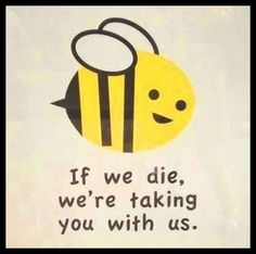 BEES  TSHIRT bee - if we die we are taking you with us subversive political cute hippy eco warrior environmentalist by carambaclothes on Etsy https://www.etsy.com/listing/199451837/bees-tshirt-bee-if-we-die-we-are-taking